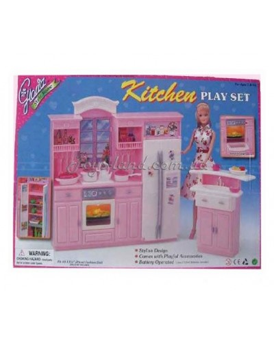 "Кухня ""Gloria"" 24016 батар., холодильник, газплита, мойка, в кор.43*30*6см"