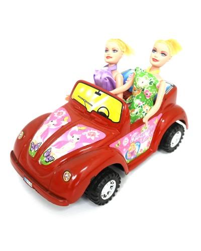 Кабриолет для кукол 299-1 с куклами,инерц.2цв. пласт. 32*16*18