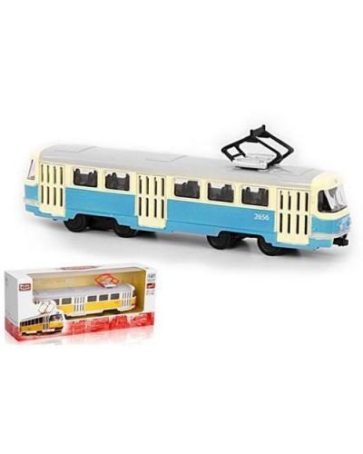"Модель трамвай PLAY SMART 6411C ""Автопарк"" метал. инерц.кор.19,5*5*8"