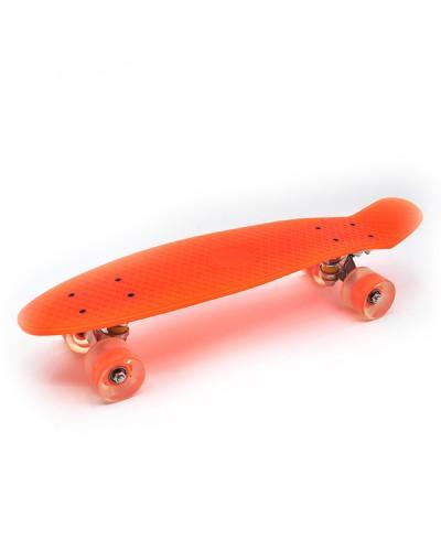 Пенніборд Оранж. 56x15x12см. ТМ_Максимус. (ЗІБРАНИЙ, LED-ПУколеса, алюм. підвіс, підшип.АВСЕ7)