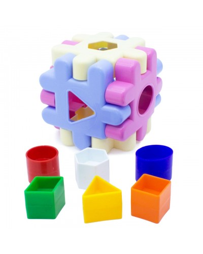 Сортер Куб рожевий 12ел. 3Д конструктор 5334-М