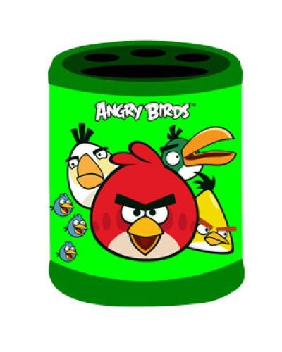 """Стакан для ручок Centrum """"Angry Birds"""" 9*8см зелен. з прорезин. покриттям 84785"""