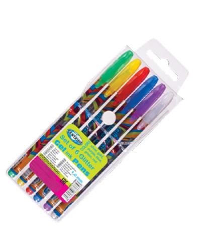 """Набір гелевих ручок Centrum """"Glitter Metallic"""" 83885 (5 кольор. ручок) з блискітками"""