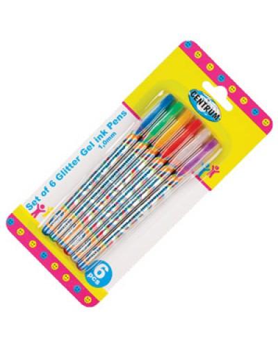 Набір гелевих ручок Сentrum 6шт. з блискітками 1,0мм. 85422