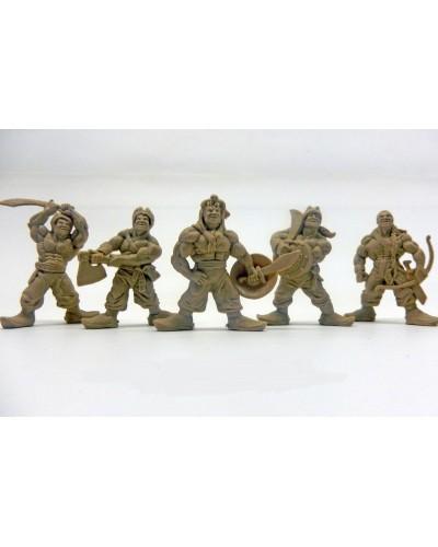 """Варгейм Набор воинов """"Отряд Ятаган"""" без коробки (5 воинов/ цвет светло-коричневый), Fantasy"""