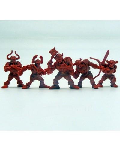 "Варгейм Набор воинов ""Рота Норман"" без коробки (5 воинов/ цвет красно-оранжевый), Fantasy"