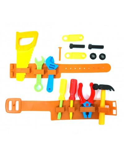 Набор инструментов 899B пояс, пила, молоток, ключи, плоскогубцы, в пакете 21*4*46см