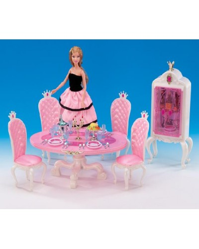 """Мебель """"Gloria"""" 1212 для столовой, стол, 4 стула, буфет, свечи, посуда, еда,в кор.30*19.5*7.5см"""