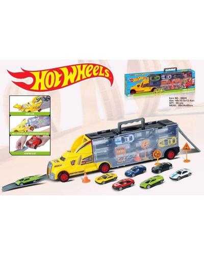 Трейлер типа HOT WHEELS 8820 в наборе авто, знаки, в коробке 48*10,5*13,5см
