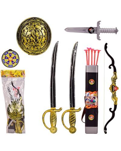 Пиратский набор 7161 2 меча, щит, нож, лук, стрелы, в пакете 68*20 см