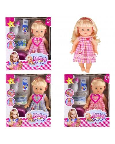 """Кукла функц """"Baby"""" 8399B (1479783)  3вида,пьет/писает,муз,горш,бут,подг,в кор.30*12*35см"""