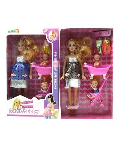 """Кукла типа """"Барби""""Семья"""" 2914 с мал.кук, пупсик, коляской, ванночкой, одеждой, в кор.19*6*33см"""