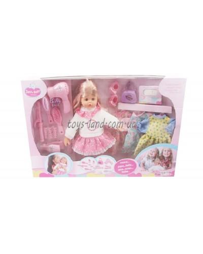 Кукла муз LD9511A фен, расчес, зерк, бигуди, плойка, утюжек, платья, сумочка, салфетки в кор.70*11*4