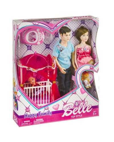 "Кукла типа ""Барби""Семья"" JX600-97  беремен.с Кеном, мал.куколкой, аксесс., 4 вида, в кор.33"