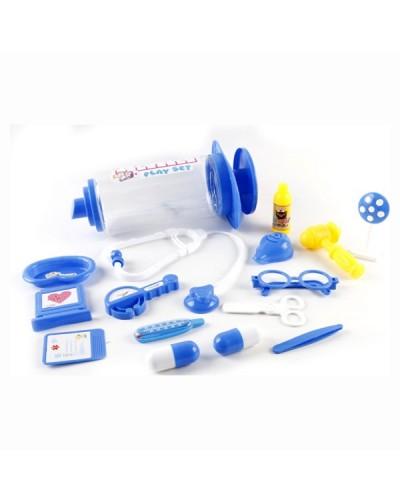 Доктор 5010-1 3 вида, стетоскоп, градусник, пинцет, ножницы, очки, молоточек...в шприце