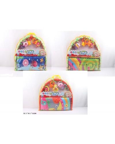 Коврик для малышей 895-1/2/3A с погремушками на дуге, в сумке 52*56*5 см