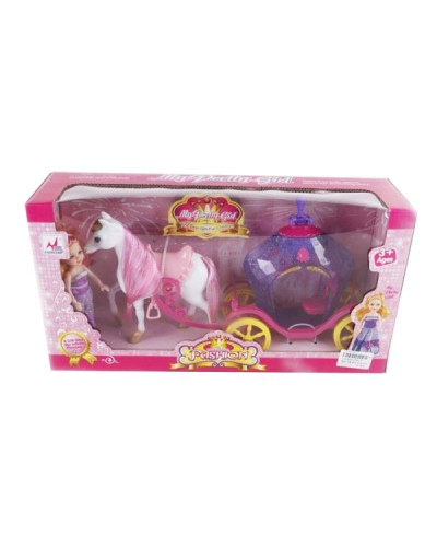 Карета 05015 с лошадкой, куколкой, в кор.40*11*21см