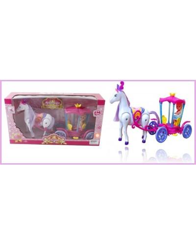 Карета 00508 (792690) с лошадкой, муз, ходит, куколкой, в кор. 40*11*21см