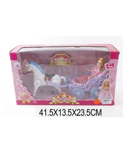 Карета 0058 (437504) с лошадкой, муз, ходит, куколкой, в кор. 42*14*24см