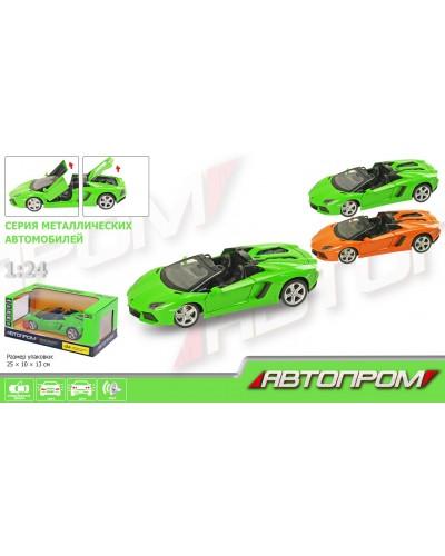 """Машина металл 68274A """"АВТОПРОМ"""" 1:24 Lamborghini, бат, свет, зв, откр.двери, капот, багаж., в кор.24"""