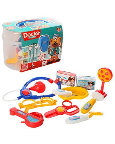 Доктор 889-1 стетостоп, шприц, ножн, очки, молоточек, мед. лоток, щипцы, пилюли, в чемод.19*13*10см