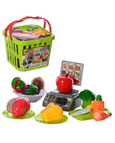 Овощи и фрукты 686 делятся пополам, весы, тарелки, нож, досточка, в корзине 17*13*19см