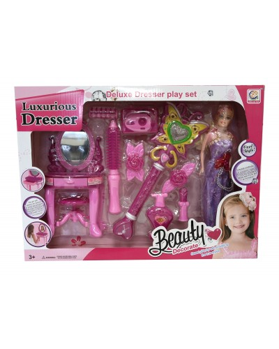 Аксессуары для девочек 1123-3, с куклой, трюмо с зерк, стул, бигуди, расч, фотоапп, в кор.