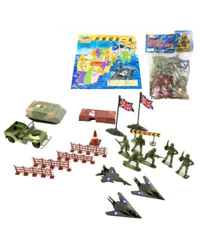 Военный набор D10.8, техника, солдаты, в пакете 21*18см