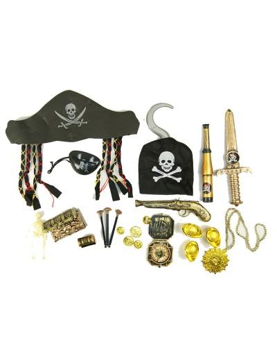 Пиратский набор ZP2626 шляпа, подз.труба, крюк, мушкет, в пакете 20*8*37см