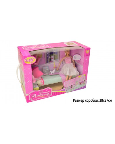 """Кукла типа """"Барби""""Anlily"""" 99051, с питомцем, кровать, лампа, обувь, аксесс... в кор.37*17*26"""