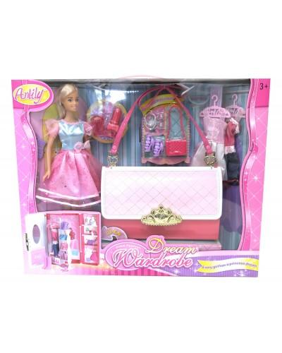 """Кукла типа """"Барби""""Anlily""""99046 сумка превращается в шкаф д/одежды, платья, аксессуары, в кор."""