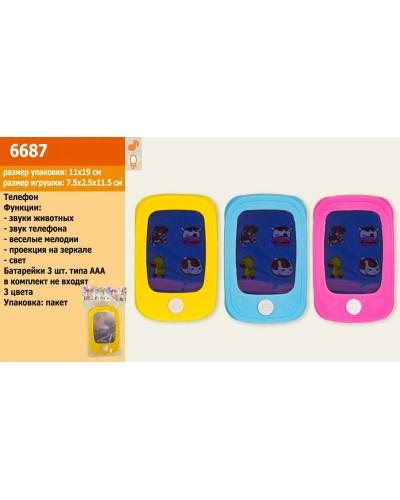Моб.телефон 6687, 3 цвета, батар., в пакете, 11,5*7,5*2 см