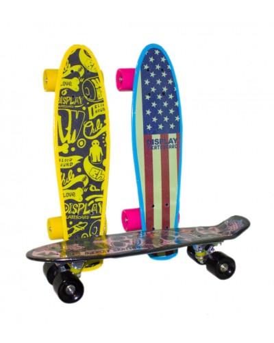 Скейт YW0284 металл. крепление, односторонняя картинка, колеса PU, 56*15 см,3 вида