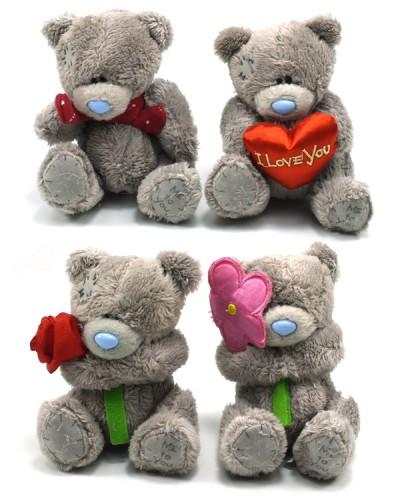 Мягкий мишка  MI0013t13, 11см 4 вида: цветочек, шарфик, сердечко, в пакете
