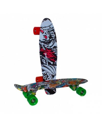 Скейт YW0285 металл. крепление, колеса PU, 56*15 см,3 вида
