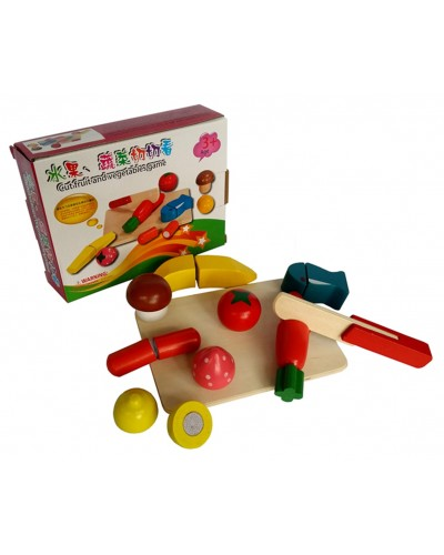 """Деревян.""""разрезалки"""" KXM-535 овощи/фрукты, на липучке разрезать , в коробке"""