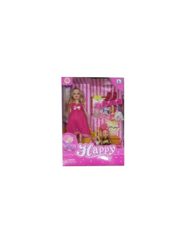 "Кукла типа ""Барби""Беременная"" 116-36AA 6вид, кроватка, куколка, платья, аксесс, кор.33*8*22,5см"
