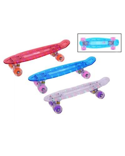 Скейт SK17110  свет. доска, 3 цвета, колеса pu свет 15*56см