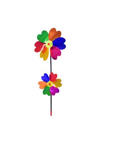 Ветрячок W2005 цветной, голограмма, на палочке 44 см