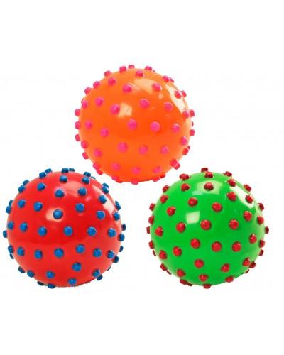 Мяч M01132 цвет ассорти, с шипами, резиновый,15см 70г