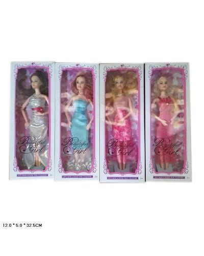Кукла  ZR-521A 4 вида, шарнирная, в вечернем платье, в кор.12*5*32,5см