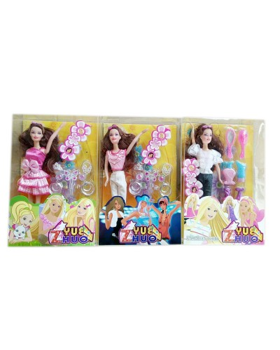 "Кукла типа ""Барби 1203-17 с  аксесс, 3 вида микс, в кор.35*21*5,8 см"