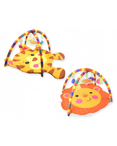Коврик для малышей PM415/6 (1661663-4) с погремушками на дуге, в сумке 77*5*60см