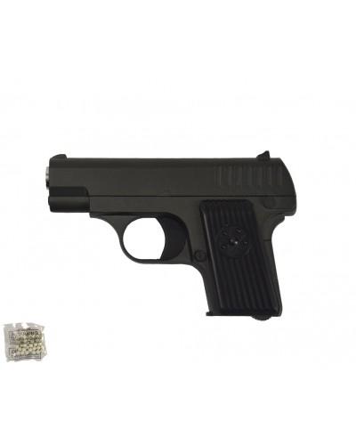 Пистолет метал.пластик G.11 с пульками в коробке 15*10*3см