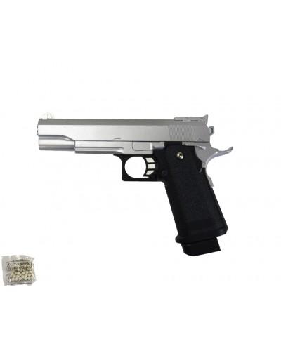 Пистолет метал.пластик G.6S с пульками в коробке 22*16*3,4см