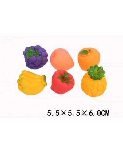"""Пищалка F2006 1728234 """" Фрукты"""" 6 видов, размер изделия 5,5*5,5*6 см, в пакете"""
