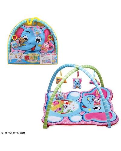 Коврик для малышей 518-25  с погремушками на дуге, в сумке 61*54*5см
