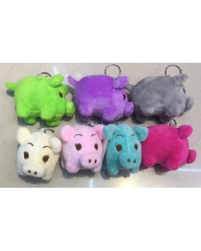 Мягкая игрушка-брелок R25544    свинка, микс цветов, 10см,  12 шт. в упаковке