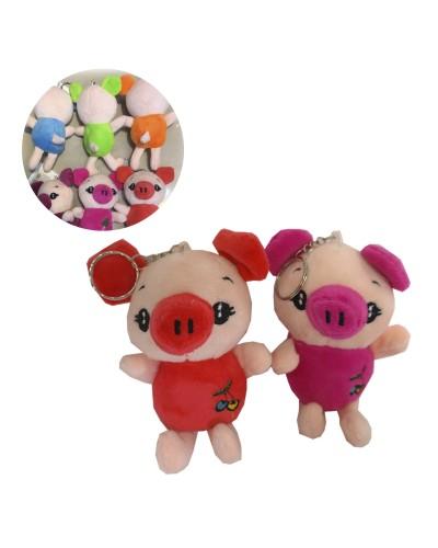 Мягкая игрушка-брелок R25550  свинка, микс цветов, 15см