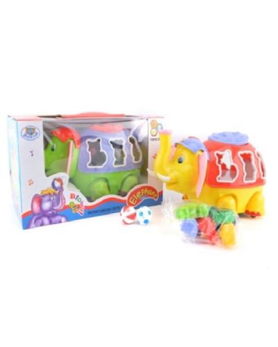Муз. разв. игрушка 3338-A слоник-сортер, в коробке